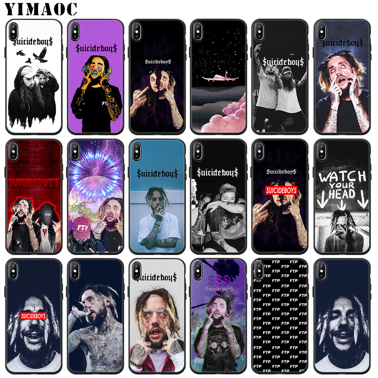 YIMAOC FTP $ uicideboy $ uicideboy Suicideboys Weichen Silikon Telefon Fall für <font><b>iPhone</b></font> 11 Pro XS Max XR X 6 6S 7 8 Plus 5 <font><b>5S</b></font> SE 10 image