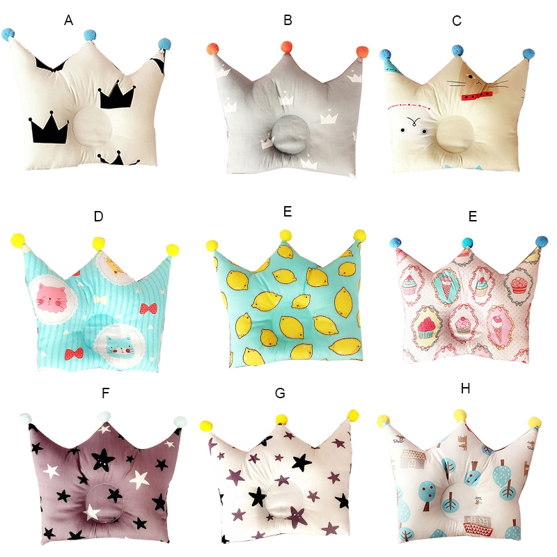 Baby Forming Pillow Cotton Cartoon Sleep Pillow to Prevent Flat Head Baby Crown Point Bedding Pillow for Newborn Boy Girl