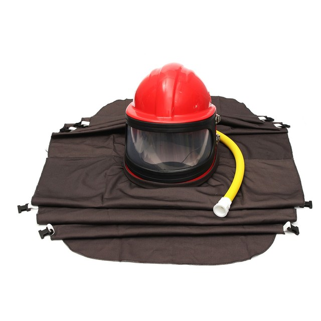 NEW Abrasive Shot Blast Cleaning Helmet Sand Blasting Protective Clothing With Pipe safety clothes