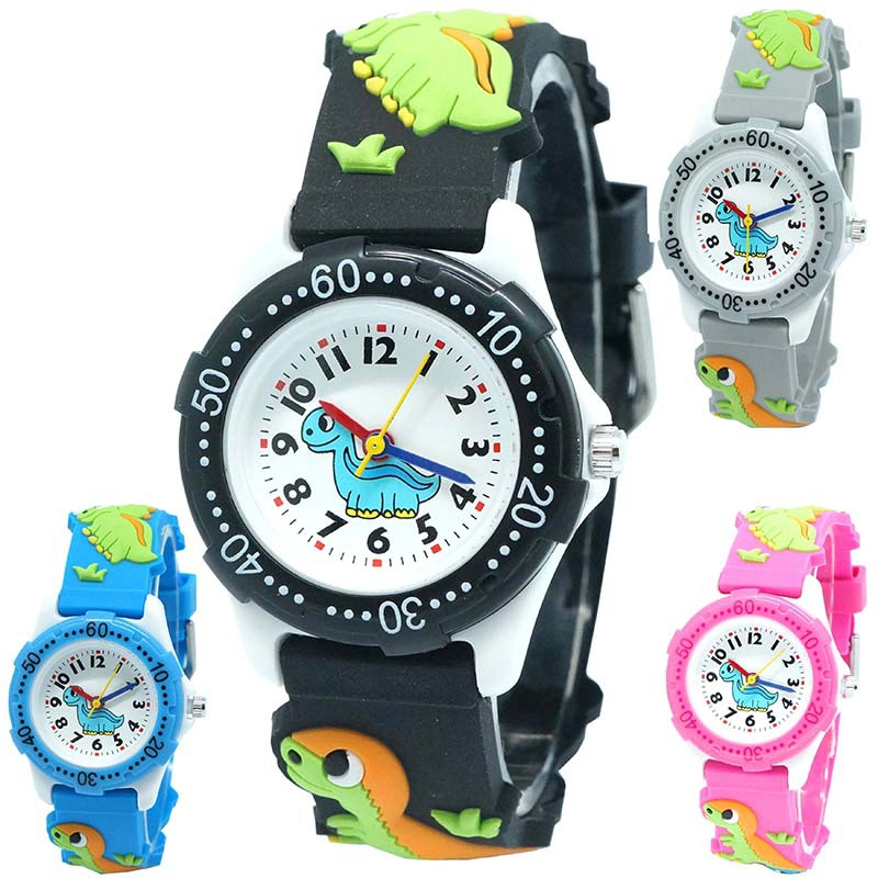 New Arrival High Quality 3D Silicone Strap Dinosaur Design Children Quartz Watch Kids Girl Boys Students Relogio Kol Saati