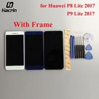 화웨이 P8 라이트 2017 LCD 디스플레이 + 터치 스크린 프레임 LCD 스크린 디지