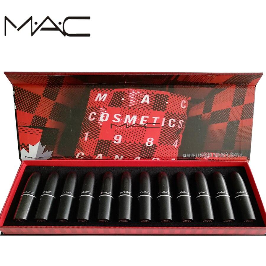 MAC maquillage 12 couleurs différentes Sexy femmes ensemble limité multi-fonction Sexy mat lèvres mat miroitant lèvres sourcils teinte cosmétiques