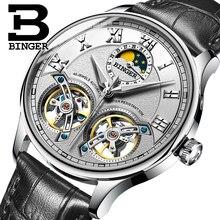 2017 NEW arrival men's watch luxury brand BINGER sapphire Water Resistant toubillon full steel Mechanical clock B-8606M-6
