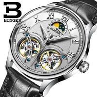 Isviçre erkek saati lüks marka BINGER safir su geçirmez çift Toubillon otomatik mekanik saat ay fazı B-8606M-6