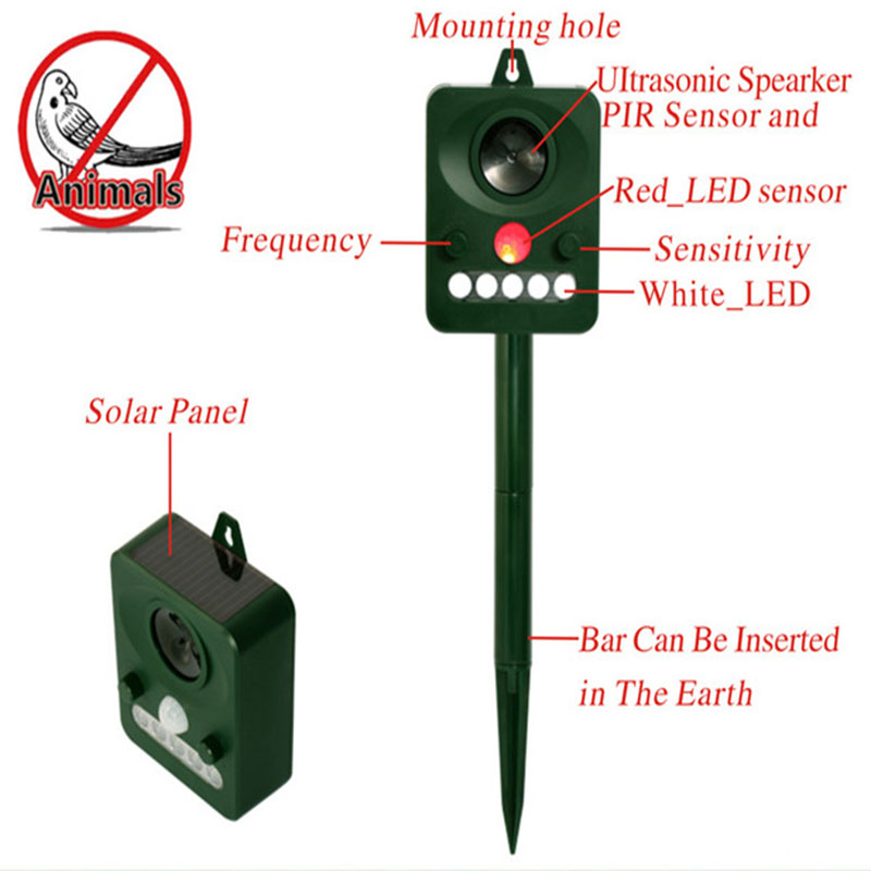 Ultrasonic Animal Pest Repeller Mice Solar Mosquito Scarer Repellent Garden Bat Cat Dog Foxes Mouse Birds Control Reject Trap solar powered sound wave mosquito repellent repeller w compass silver green