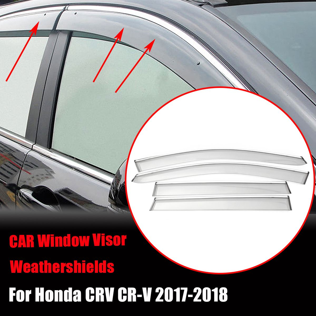 4pcs Plastic Window Visor Vent Shades Rain Guard For Honda /CRV /CR-V 2018-2018 new summer style brazilian human hair blue purple 2 3 4pcs lot get a free 13 4 lace frontal closure to match your bundle