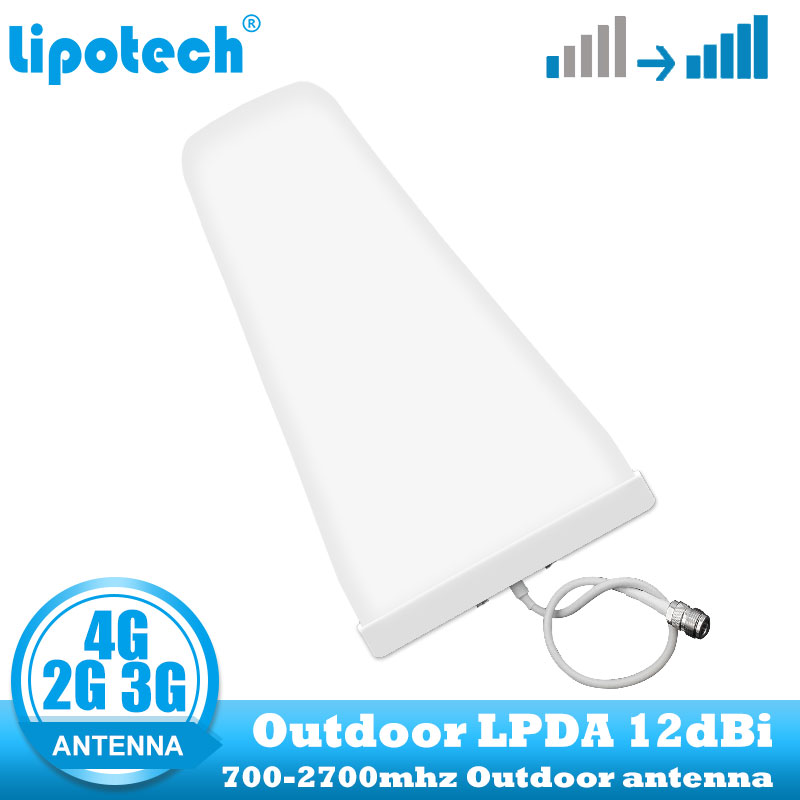 Lintratek 12dbi 2G 3G 4G Outdoor Cell Phone Signal Booster Antenna LPDA 700-2700 Mhz Cellular Repeater For GSM LTE DCS Amplifier
