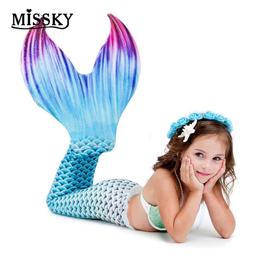 MISSKY enfants sirène Cosplay costumes haut de gamme Design réaliste qualité Cosplay robe filles fantaisie princesse sirène queue costumes SAN0
