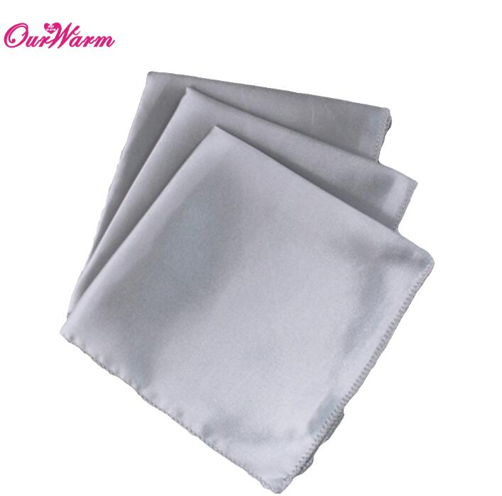 OurWarm 50 шт. атласная ткань салфетки для стола квадратная карманная салфетка для ресторана отеля банкета свадебного стола 30*30 см - Цвет: SIL