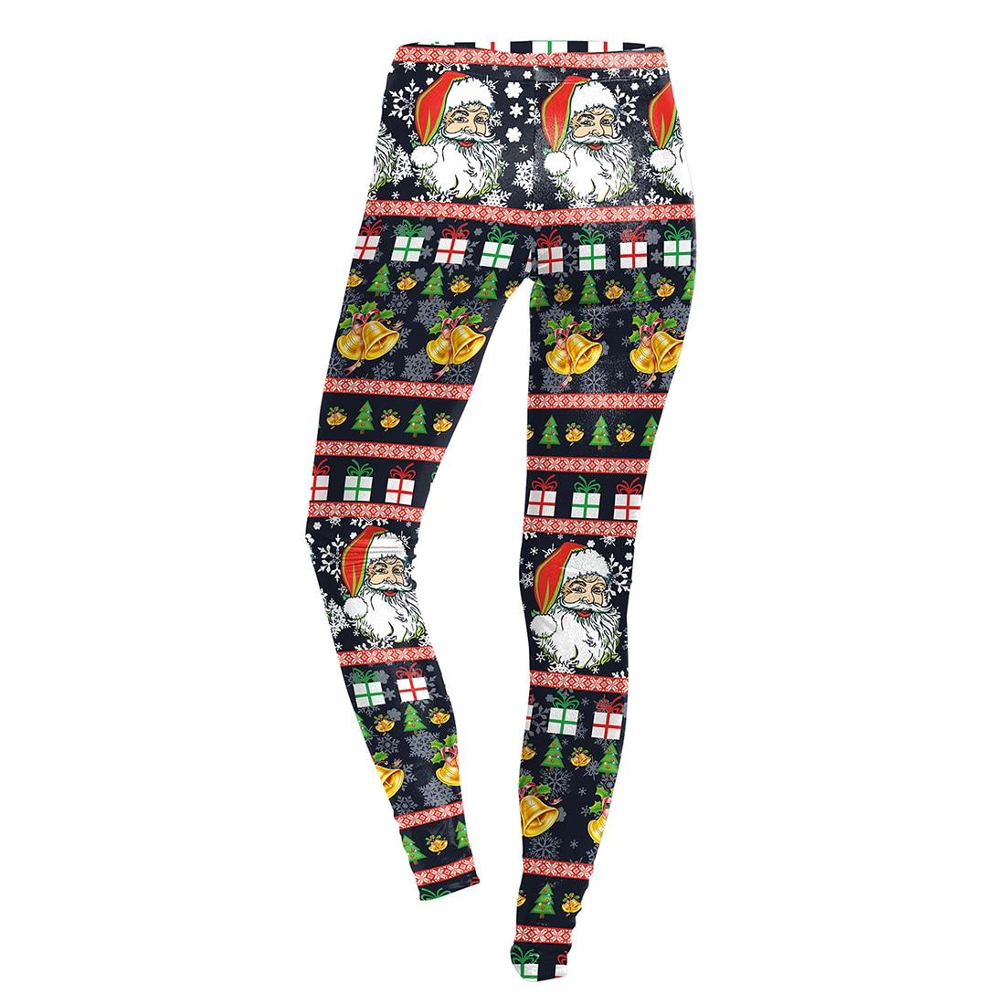 Marry Christmas Leggings Women Workout Autumn Fitness 3D Print Xmas Leggins Women Santa Claus Pants snowflake Print ...