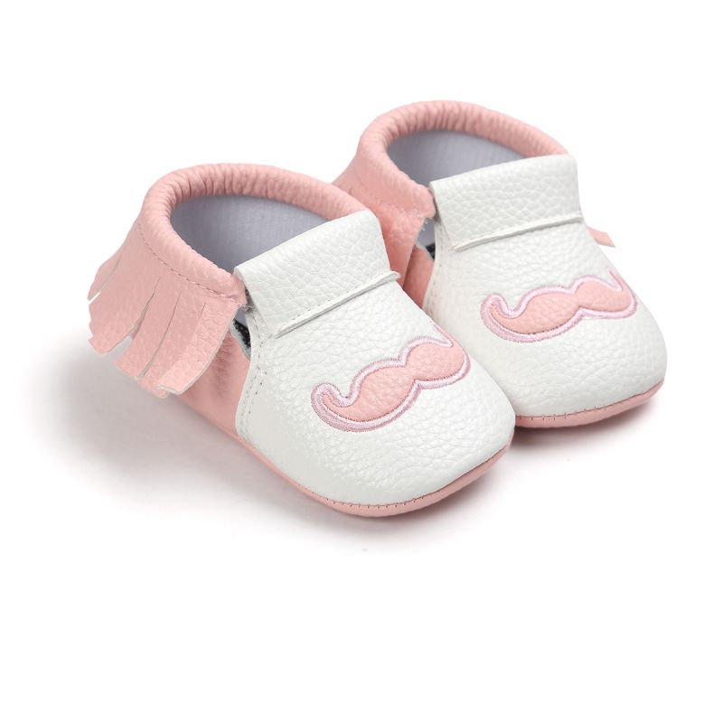 Cute PU Leather Baby Moccasins Tassel Mustache Shoes First Walkers Anti-slip Footwear Newborn Toddler Soft Shoes