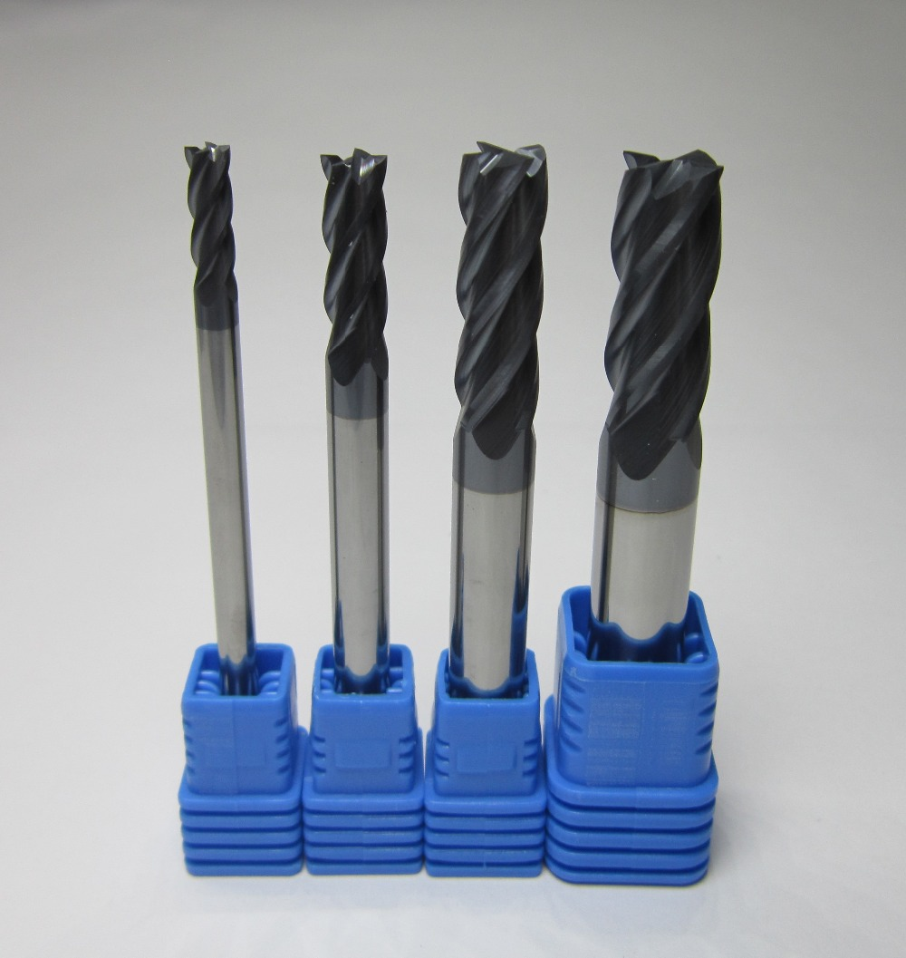 Piece 3 Flutes 4mm Long Shank 75mm Tungsten Carbide End Mill For Milling Cutter