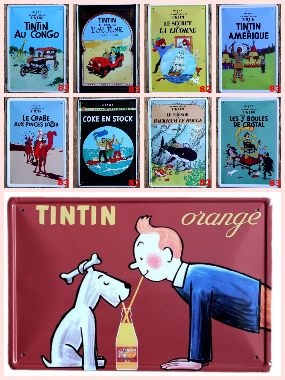 1 pc Tintin et Milou Cartoon French Tin Plate Sign plate wall man cave Decoration Metal Art plaques Dropshipping Poster metal