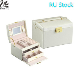 Lanskaya RU Stock Classical Three Layers High Quality Leather Jewelry Packaging Box Exquisite Makeup Case Organizer Container