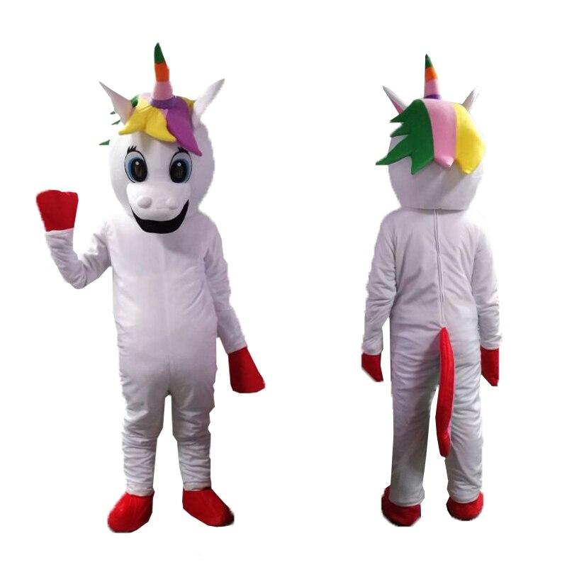 Costume de mascotte licorne costume de mascotte petit poney costume de déguisement de poney arc-en-ciel pour adulte fête d'halloween