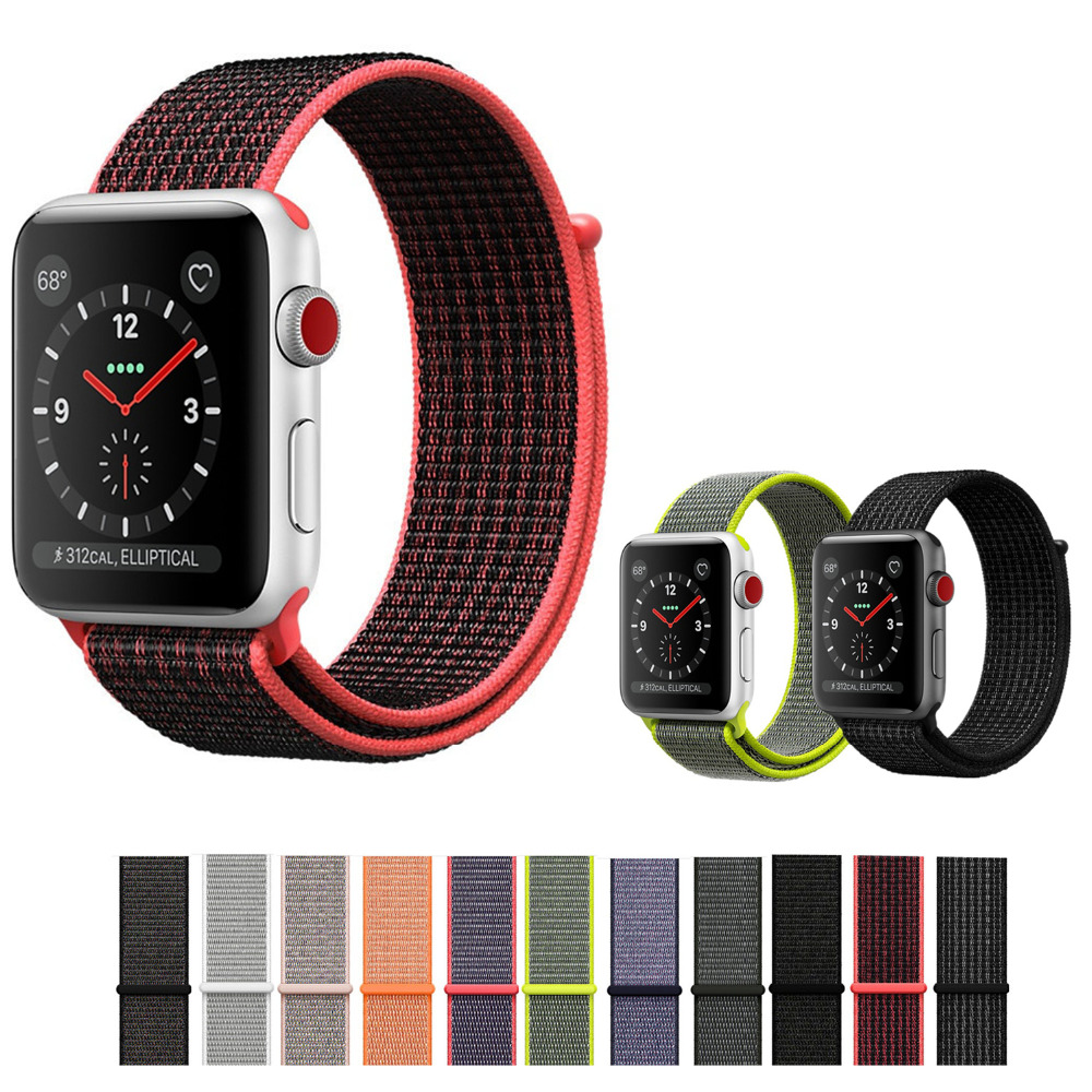 все цены на CRESTED Sport loop For Apple Watch band 42mm 38mm iWatch 3/2/1 nylon watch strap bracelet watchband hook-and-loop closure clasp онлайн