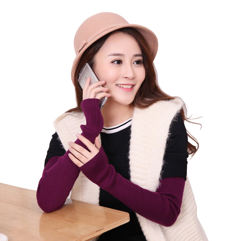 Women's Wool Cashmere Knitted Arm Warmers New Autumn Winter 40 50 60cm Knitted Woolen Arm Sleeve Long Knitted Fingerless Gloves