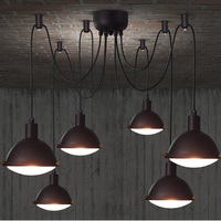 Retro Creative Dining Room Bar Chandeliers The Ceiling Industrial Lamp Vintage Adjustable Wire Lamps Chandelier Lighting