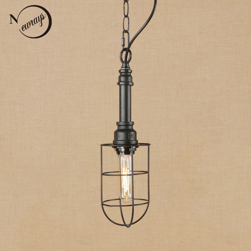 цена на Industrial retro iron black hanging lamp LED Pendant Light Fixture E27 220V For dining room bedroom study hotel restaurant cafe