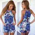 Floral Printed Jumpsuit 2015 Lady Women Summer Rompers Fashion Halter Off shoulder Sleeveless Short Overall 29