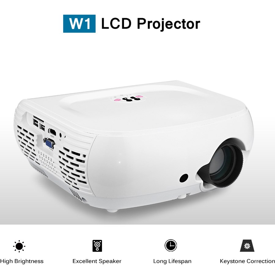 W1 LCD Projector 120 ANSI 800 x 480 pixels Support 1080P LED Projector Built-in Speaker Home Media Player b101xt01 1 m101nwn8 lcd displays