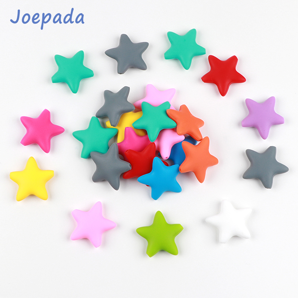 Joepada 5Pcs Star Silicone Beads Baby Teether Star Shape Baby Teething Loose Beads  For Making Baby Teething Pacifier Chain
