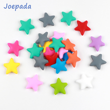 Joepada 5Pcs Star Silicone Beads Baby Teether Shape Teething Loose  for Making Pacifier Chain
