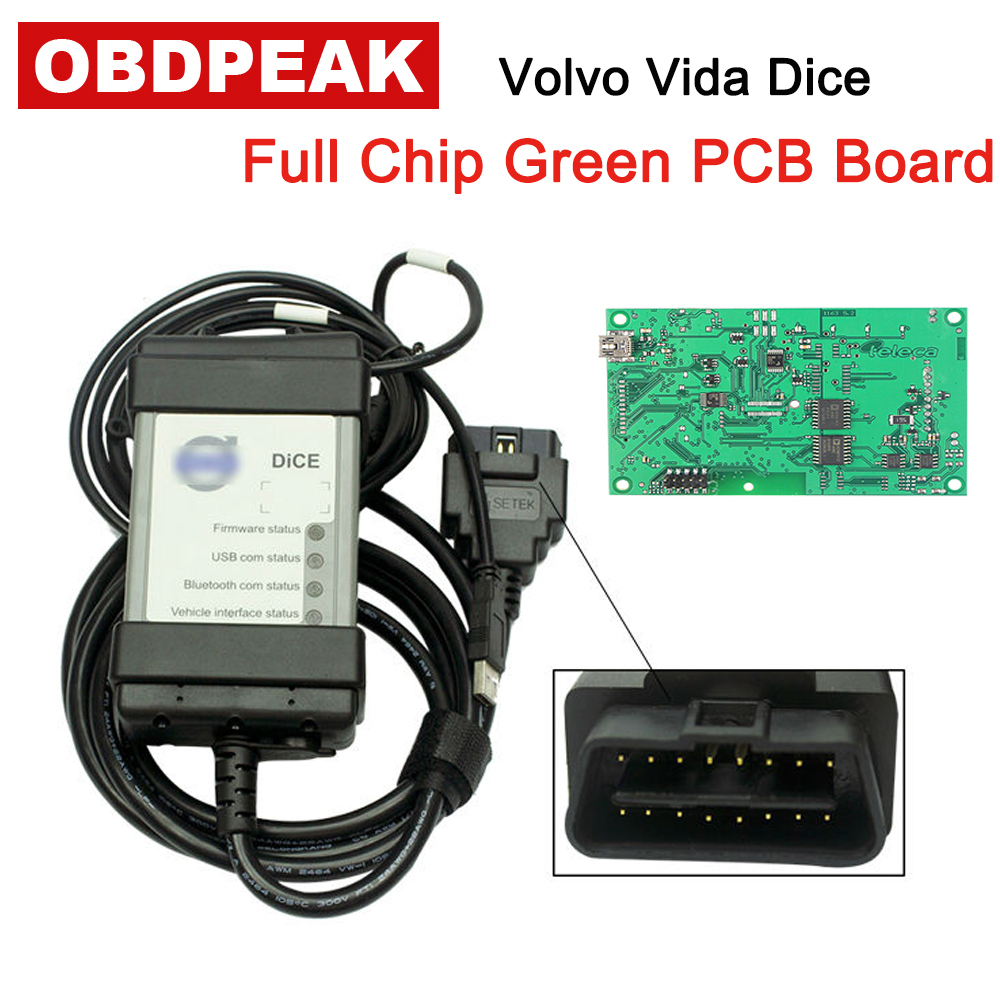 For Volvo Vida Dice Full Chip 2014D Diagnostic Tool Green Main Board OBD2 for volvo dice Multi-Language OBDII Scanner