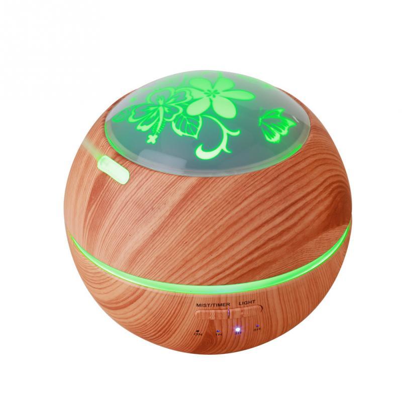 Difusor De Aromaterapia Ultrasónico De Grano De Madera Luz Y Sombra Led Humidificador De Aroma De Aire
