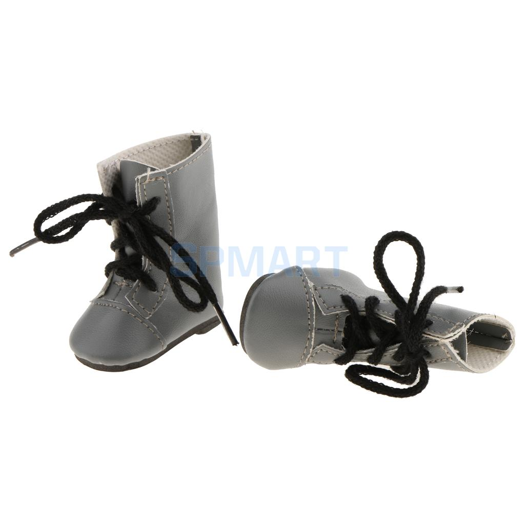 Fashion Shoes PU Leather Lace up Boots for 14 American Girl Wellie Wishers Doll