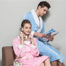 c58a62964ae Lovers Couple Winter Sexy Soft Pink Blue Flannel Pajama Bathrobe Women Men  Robes Nightgown