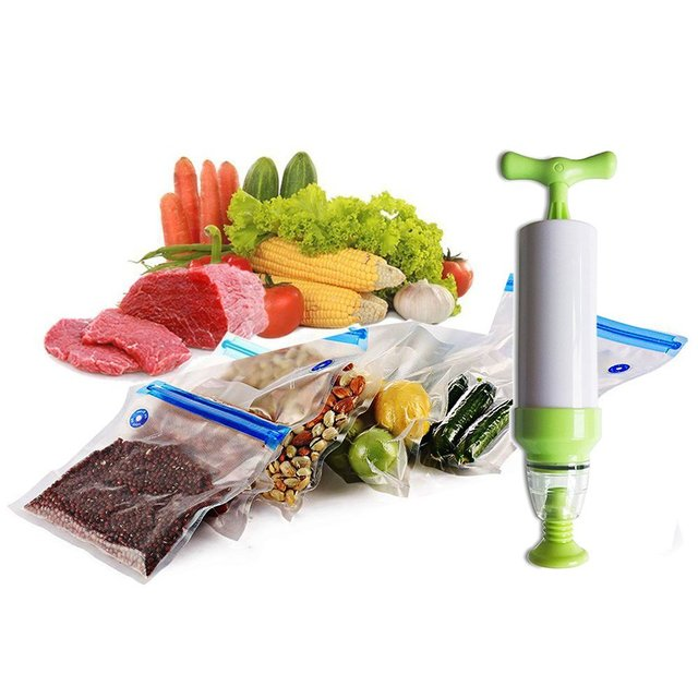 Bags Vacuum Sealer With Hand Pump Food Saver System Reusable Easy
