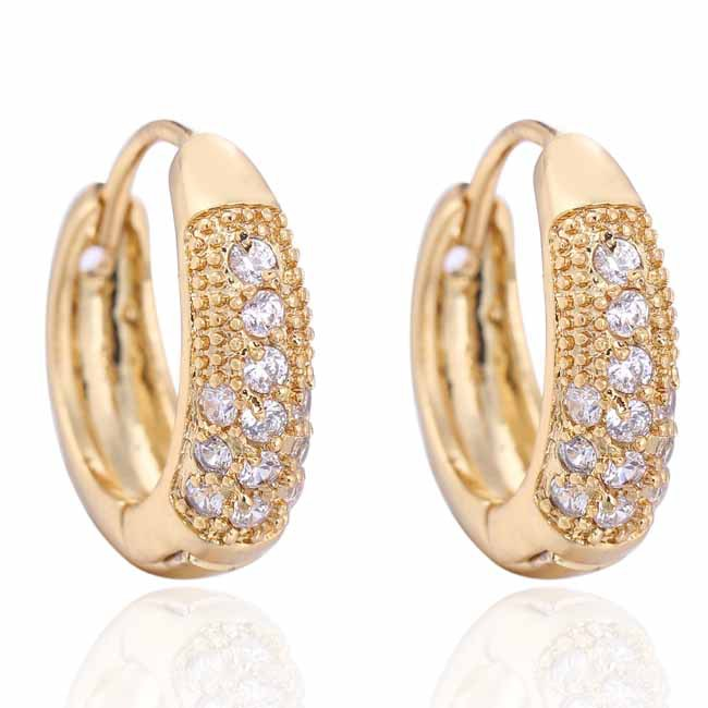 Fashion Jewelry Love Vintage Gold Color Small Hoop Huggie Earrings For Womens Simulated Crystal Earings Whole In From