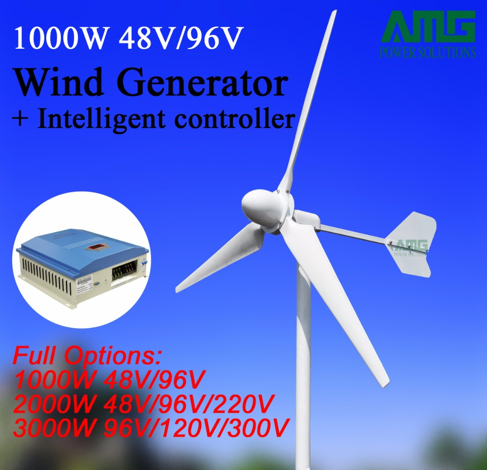 1KW/1000W 48V/96V 3 blades Horizontal Wind Turbine Generator Residential home Use+ Wind Charger Controller цена