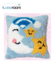 BZ00 Moon and Stars Hook Rug Kit Pillow DIY Unfinished Crocheting Yarn Mat Latch Hook Rug Kit Floor(China)