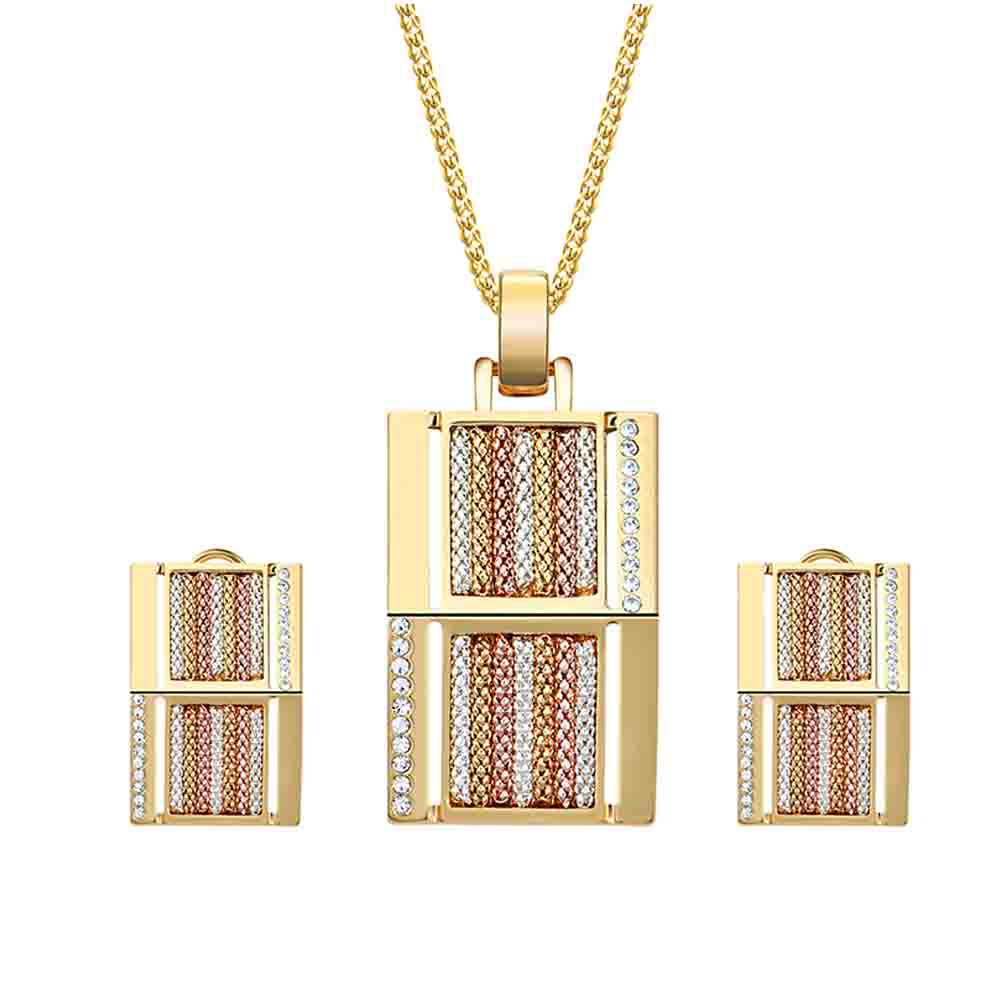 Hiphop Rock series 2 kinds of styles necklace earrings set Geometric gold alloy necklace Rhinestone inlay earrings Jewelry set