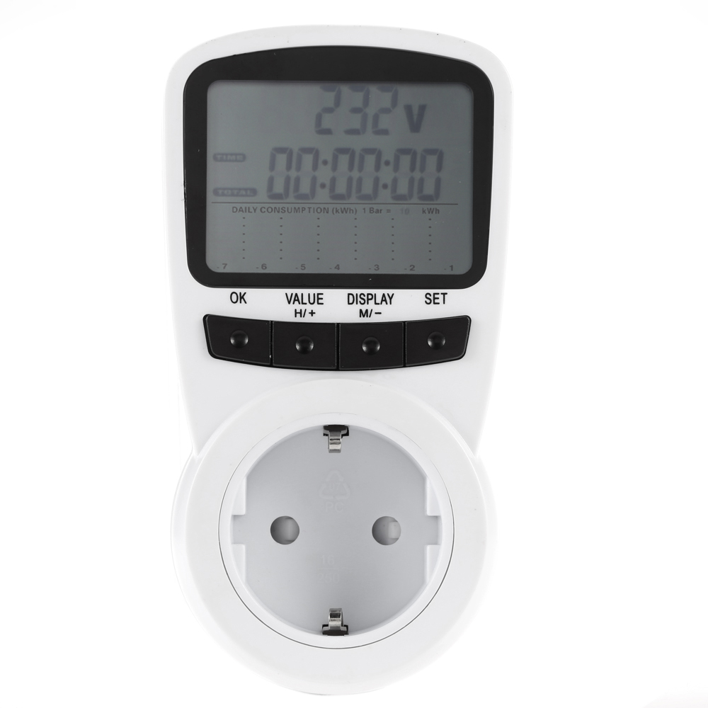 EU Digital LCD Electric Power Energy Voltage Wattage Current Monitor Consumption Cost Analyzer Power Socket цены