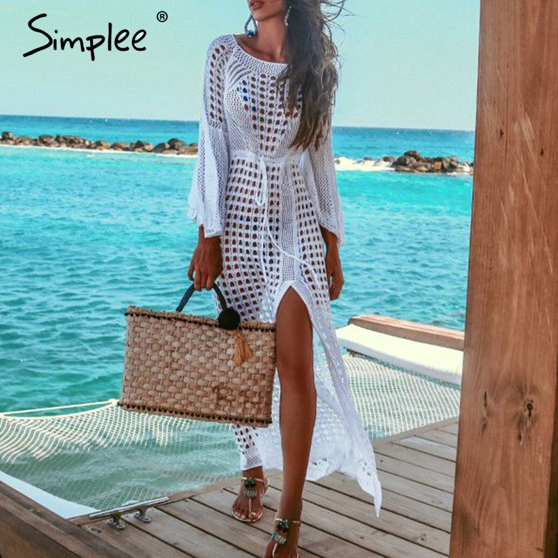 Simplee сексуальное Белое Женское пляжное платье Летнее открытое с длинным рукавом раздельное летнее платье элегантные модные праздничные ве...