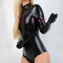 Classical latex rubber playsuit garment clothes wearing close-fitting jumpsuit including gloves