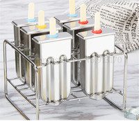 Stainless Steel Popsicle Molds Ice Lolly Stick Holder 6pcs/Batch DIY Silver Home Ice Cream Moulds