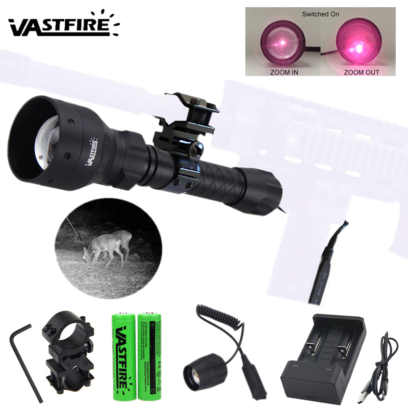 Torche de chasse tactique de lumière infrarouge réglable Zoomable de 400 Yard 850nm IR lumière d'arme d'illuminateur de Vision nocturne avec Laser rouge