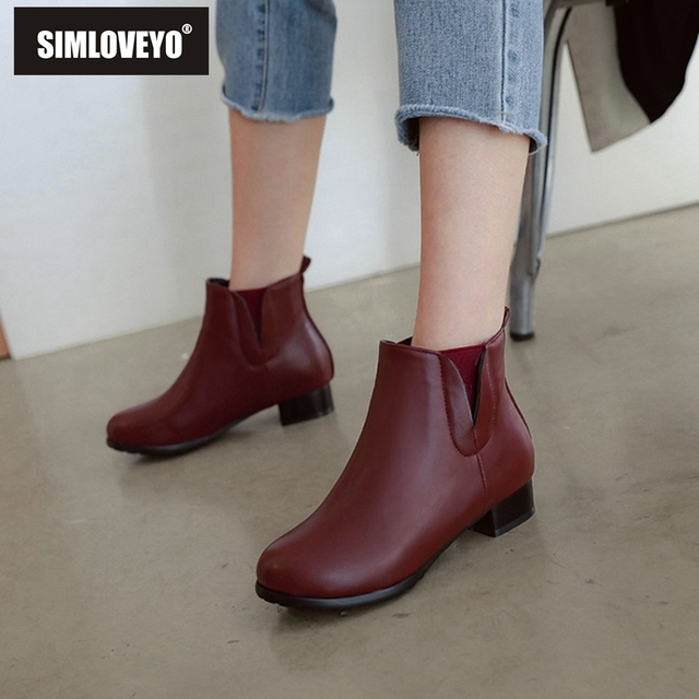 76709e0e549 SIMLOVEYO Shoes Women Low heel Ankle Boots Round Toe Slip on Botas feminino  mujer Solid Black Shoes Stretch Winter A1360b