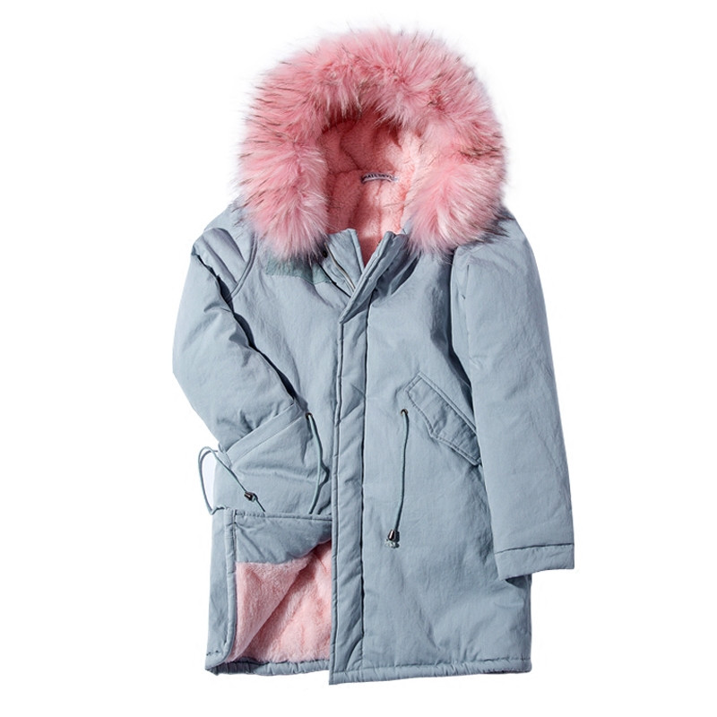 Warm Faux Fur Hooded Jacket Coat Winter Nice Women Long Fur Coat Fashion Designer Light Blue Autumn Parkas Outwear Jacket