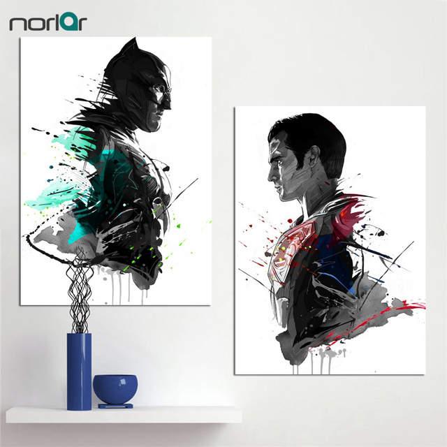 Us 612 51 Offaquarell Kunstdrucke Leinwand ölgemälde Superheld Superman Batman Dekoration Wohnkultur Moderne Wandbilder Für Wohnzimmer In Malerei