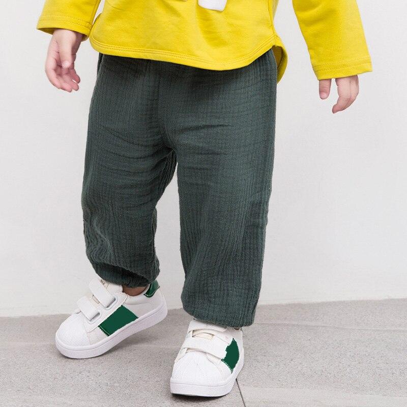 Льняные плиссированные штаны для маленьких мальчиков и девочек, летние хлопковые прямые длинные штаны, детская одежда, детские повседневны...