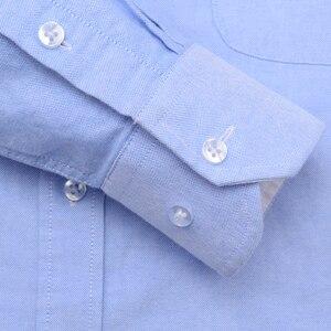 Image 4 - גברים של אוקספורד ארוך שרוול לחצן למטה מזדמן שמלת חולצה תיקון חזה כיס קלאסי סטנדרטי Fit כותנה עבה חולצות