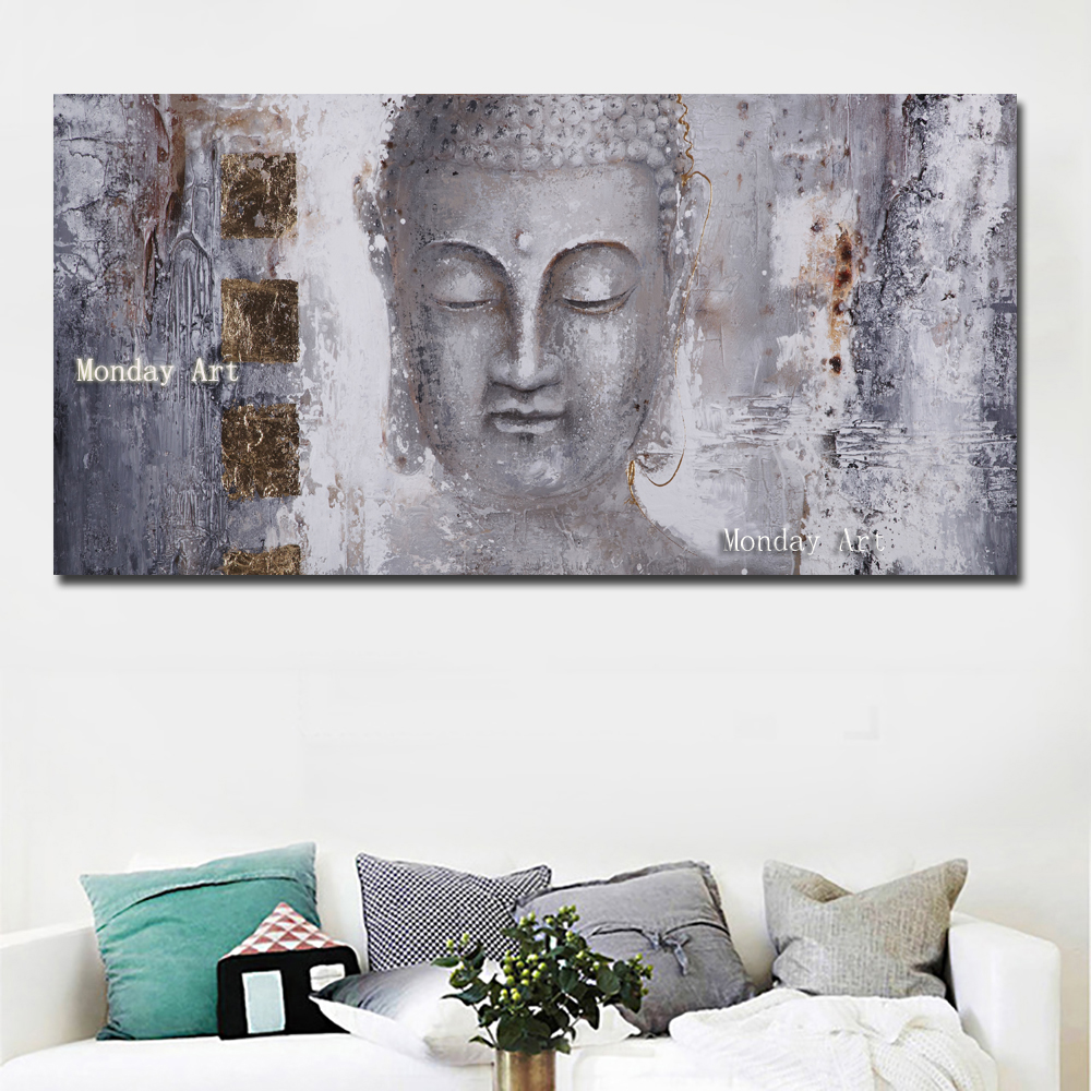 Большой размер Ручная роспись абстрактное искусство на холсте изображение Будды маслом стены искусства для гостиной домашний декор Соврем