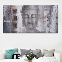 Large Size handpainted Canvas Abstract Art Buddha oil Painting Wall Art For Living Room Home Decor Modern oil Painting No frame