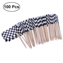 100 Racing Flag Toothpicks Checkered Flag Picks Appetizer Toothpicks Fruit Sticks for Cocktail Party - Black and White цена