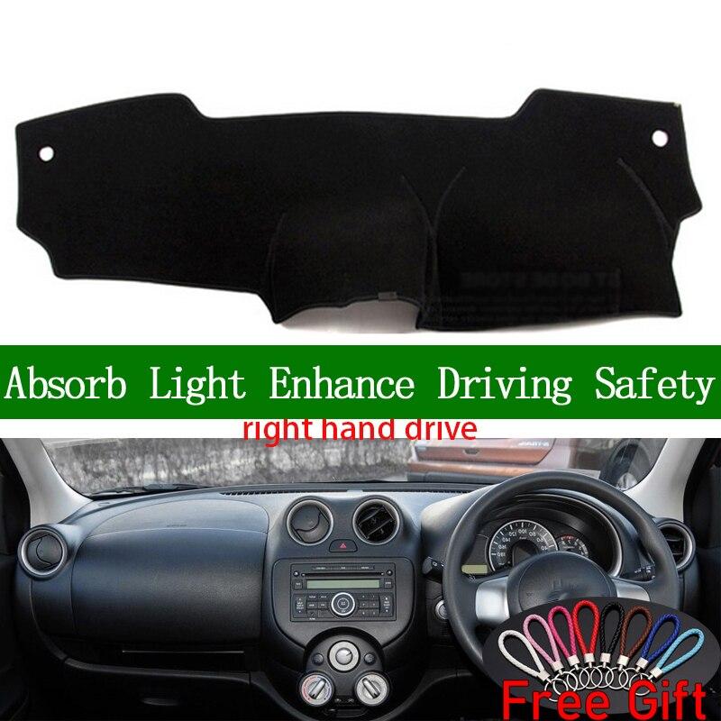 Pour Nissan MARCH Micra K13 2010 2011 2012 2013 2014-2016 couverture de tableau de bord à droite autocollants de voiture accessoires d'intérieur de tapis de tableau de bord